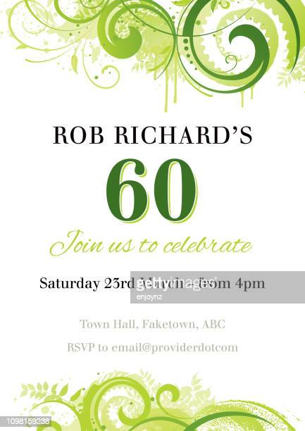 birthday party invite - 60th anniversary stock illustrations