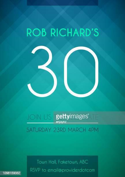 誕生日パーティーに招待します。 - 30歳の誕生日点のイラスト素材/クリップアート素材/マンガ素材/アイコン素材
