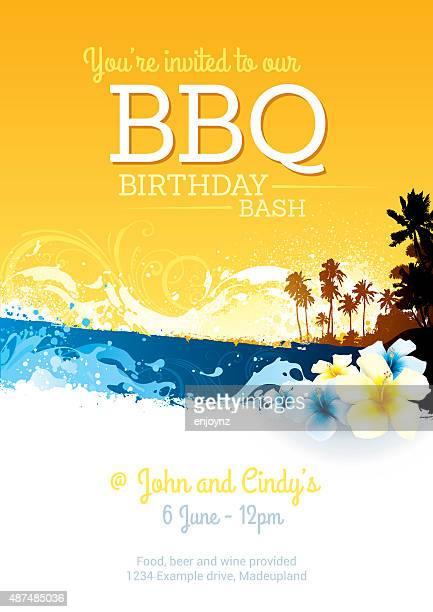bbq birthday party invite - big island hawaii islands stock illustrations