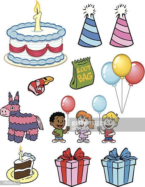 ilustrações, clipart, desenhos animados e ícones de itens de festa de aniversário - pinata