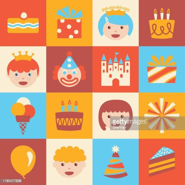 illustrations, cliparts, dessins animés et icônes de ensemble d'icônes carrées d'enfants de partie d'anniversaire - anniversaire enfant