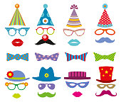Birthday party photo booth props vector set