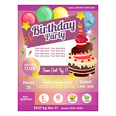 birthday party poster with cake balloon decoration