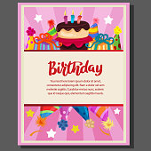 birthday party poster with cake party and hat