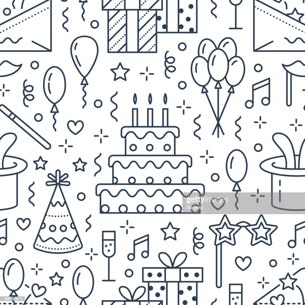 Birthday party seamless pattern, flat line illustration. Vector icons of event agency, wedding organization - cake, balloons, gifts, invitation, kids entertainment. Cute repeated background
