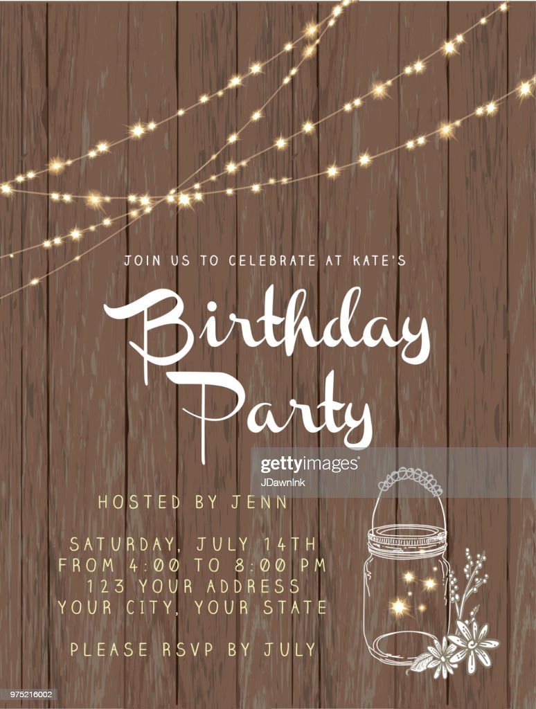Birthday Party String Lights And Rustic Wooden Background Design Invitation Template Vector Art