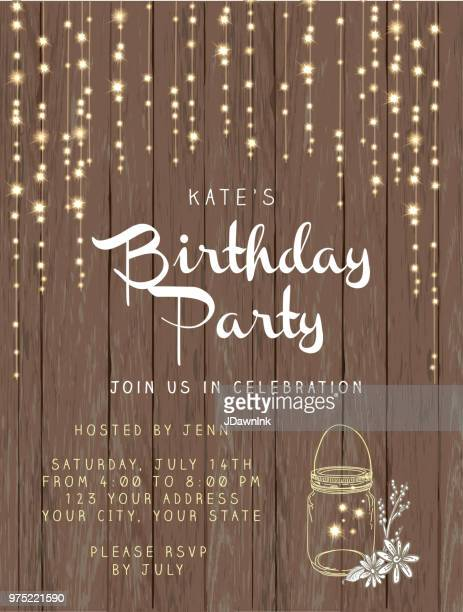 birthday party string lights and rustic wooden background design invitation template - lighting equipment stock illustrations, clip art, cartoons, & icons