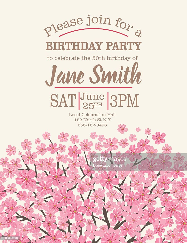 birthday party template with cherry blossom tree vector art getty