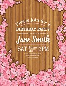 Birthday Party Template With Cherry Blossom Tree