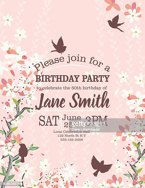 birthday party template with cherry blossom tree - cherry blossom stock illustrations, clip art, cartoons, & icons