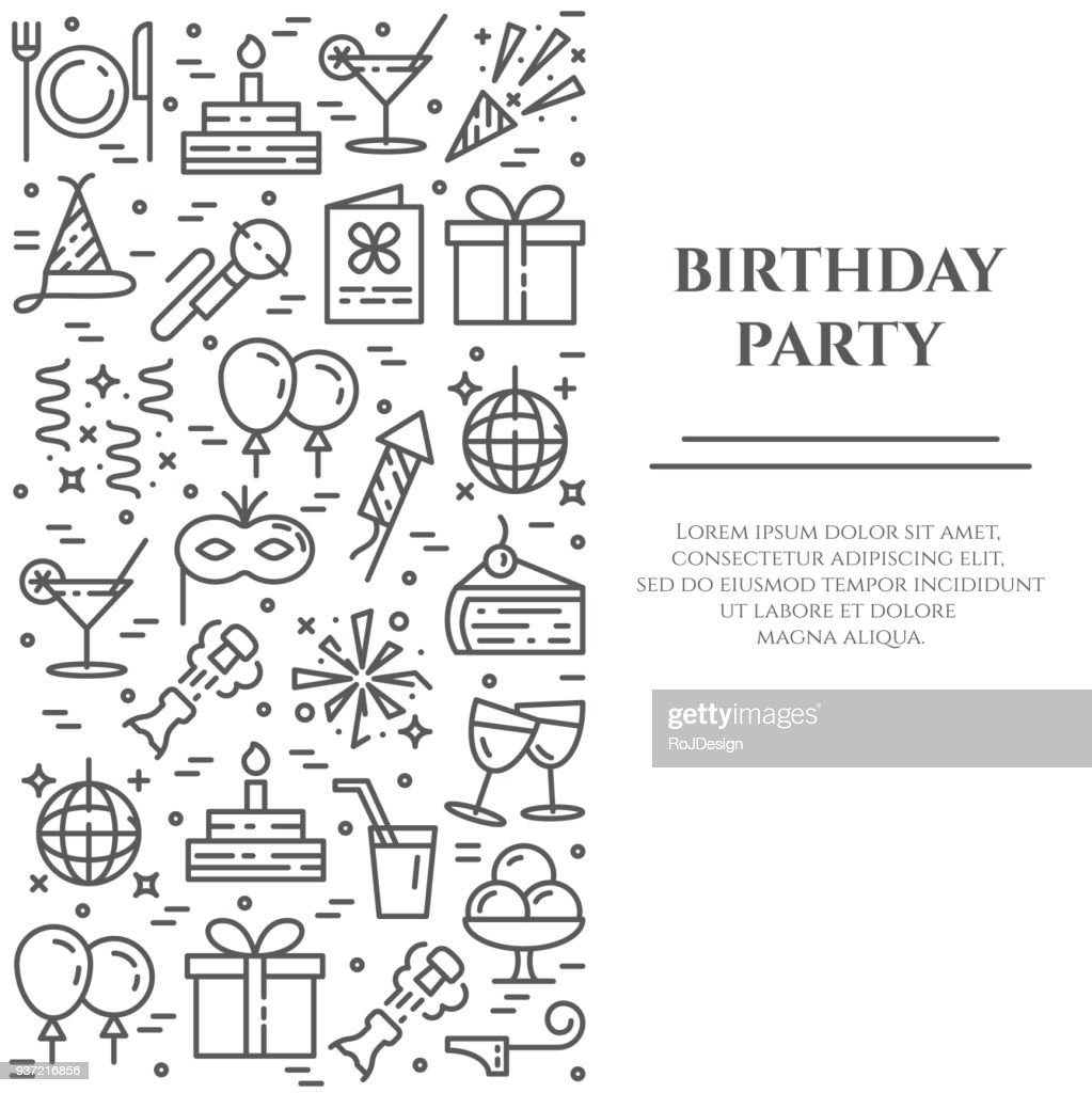 Birthday party theme banner consisting of line icons with editable stroke in form of rectangle.