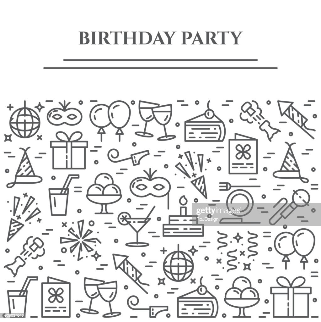 Birthday party theme horizontal banner. Set of elements of cake, present, champagne, disco, firework and other entertainment related pictograms. Vector illustration. Editable stroke