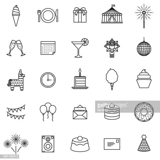 ilustrações, clipart, desenhos animados e ícones de festa de aniversário fina linha icon set - pinata