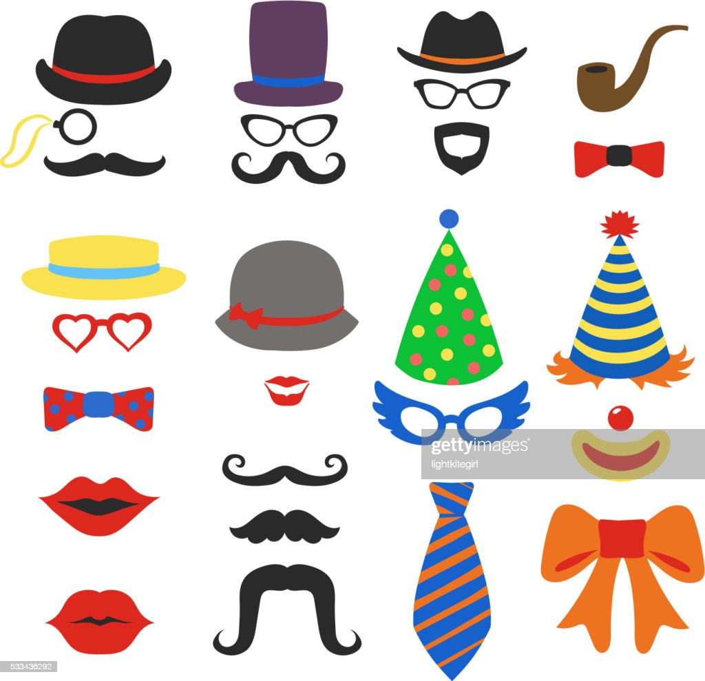 Birthday party vector photo booth props - Glasses, hats, lips,