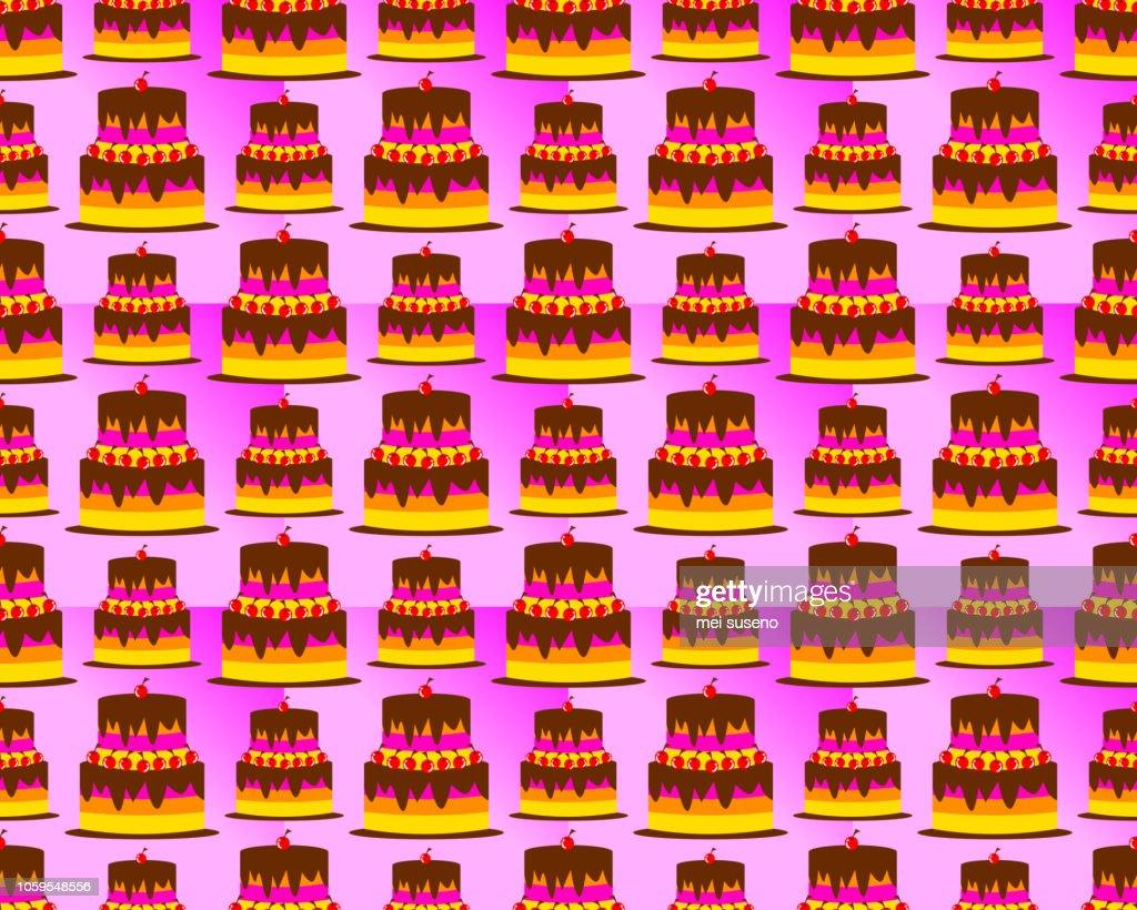 birthday pattern background shaped tart cake