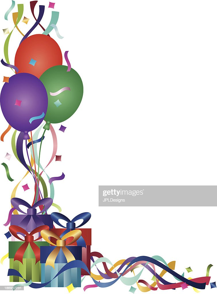 Birthday Presents with Ribbons and Confetti Vector Illustration