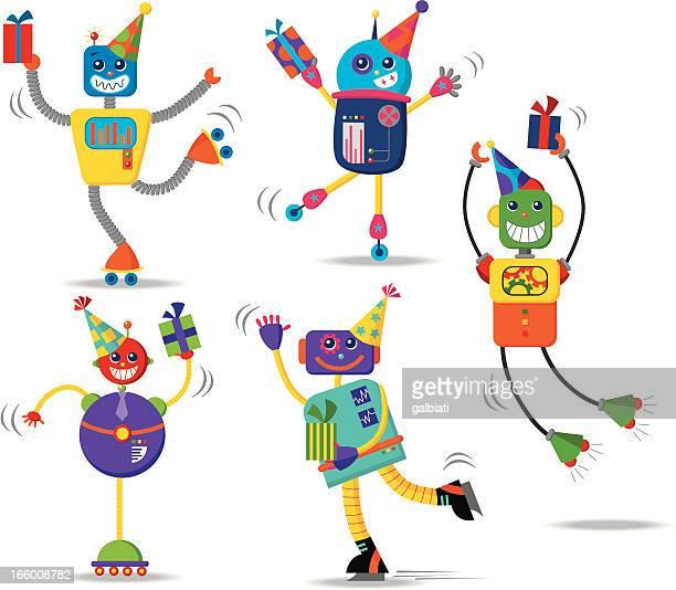 ilustraciones, imágenes clip art, dibujos animados e iconos de stock de robots de cumpleaños - baile moderno