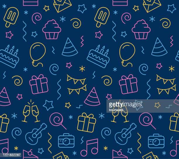 birthday seamless icon background - birthday stock illustrations