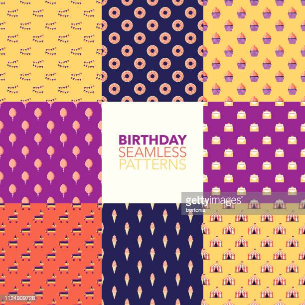 ilustrações, clipart, desenhos animados e ícones de aniversário de padrões sem emenda - pinata