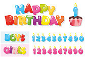 Birthday stickers set. Colorful letters, cupcake and candle numbers for boys and girls.
