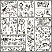 Birthday Themes Banners set 1. Hand Drawn Vector Illustrations.