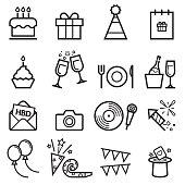 Birthday Thin Line Icons