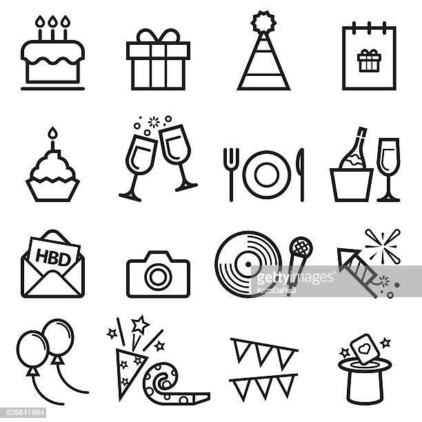 ilustrações, clipart, desenhos animados e ícones de aniversário fina linha de ícones - bolinho
