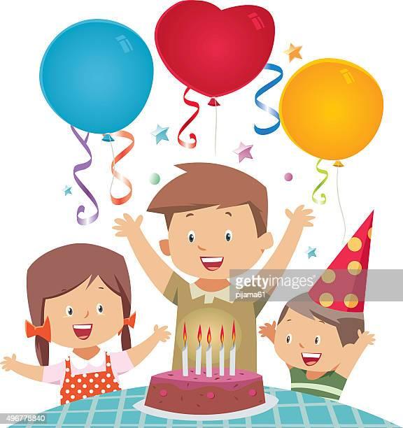 illustrations, cliparts, dessins animés et icônes de d'anniversaire - anniversaire enfant