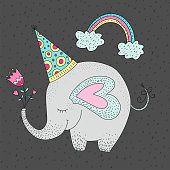 Birthday vector illustration with cartoon cute elephant.