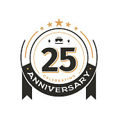 Birthday vintage icon template to 25 th anniversary circle retro isolated vector emblem. Twenty five years old badge on white background