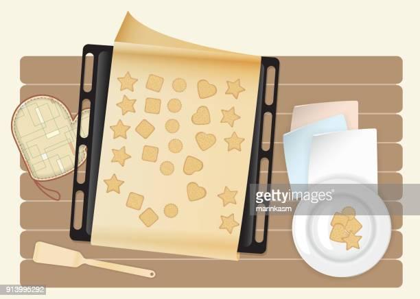 ilustrações de stock, clip art, desenhos animados e ícones de biscuit on kitchen wooden worktop top view vector illustration - mesa cafe da manha