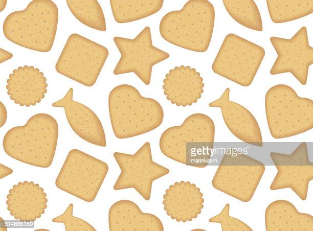 biscuit seamless pattern top view vector illustration - cracker snack stock illustrations, clip art, cartoons, & icons