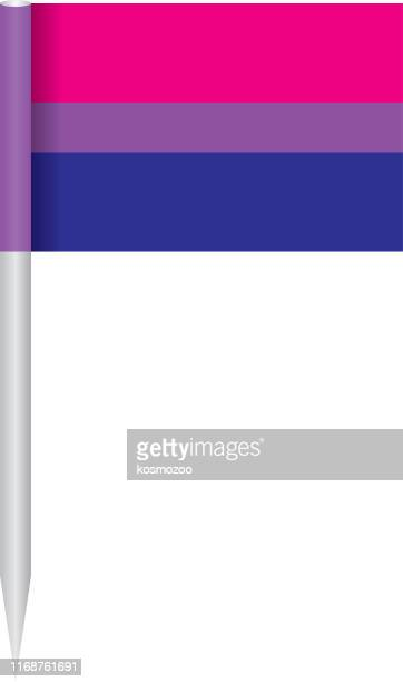 bisexual pride flag on a flagpole - bisexuality stock illustrations, clip art, cartoons, & icons