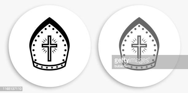 ilustrações, clipart, desenhos animados e ícones de ícone redondo preto e branco do chapéu do bispo - bishop clergy