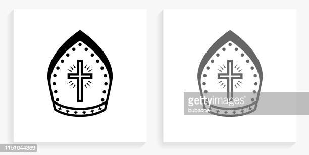 bishop hat black and white square icon - bishop clergy stock illustrations, clip art, cartoons, & icons