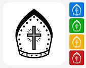 Bishop Hat Icon Flat Graphic Design