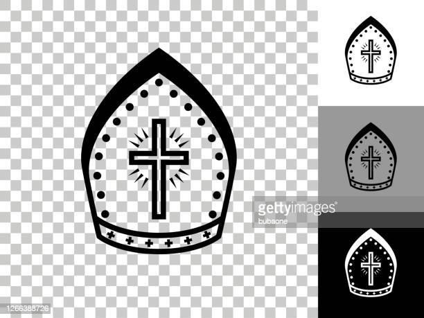 ilustrações, clipart, desenhos animados e ícones de ícone do chapéu do bispo no fundo transparente do checkerboard - bishop clergy