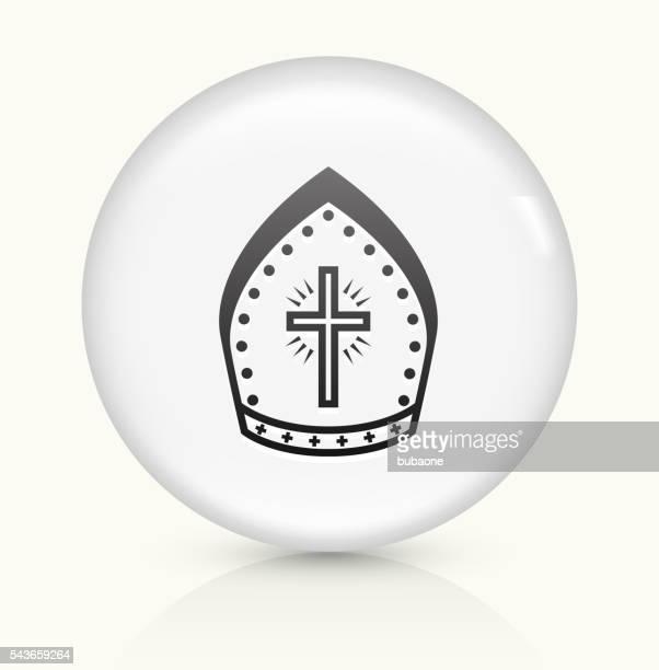ilustrações, clipart, desenhos animados e ícones de bishop hat icon on white round vector button - bishop clergy