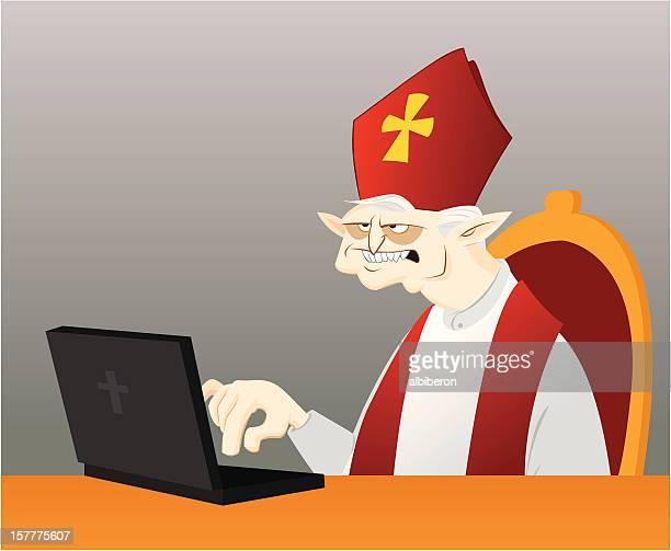 ilustrações, clipart, desenhos animados e ícones de bishop usando computador - bishop clergy