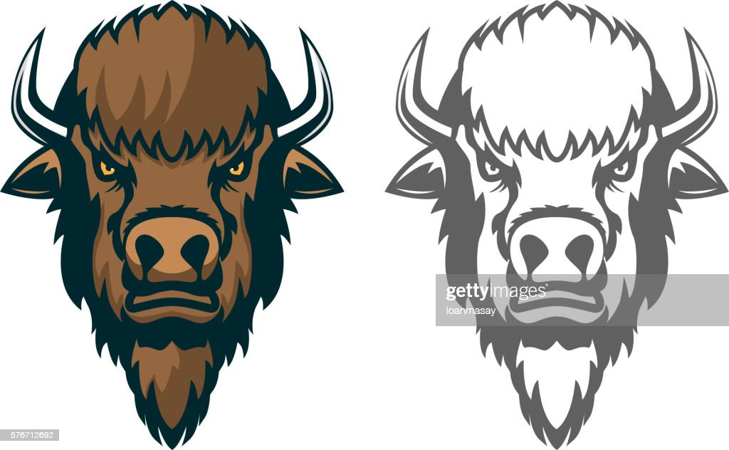Bison head. mascot. Emblem of the sport team or club