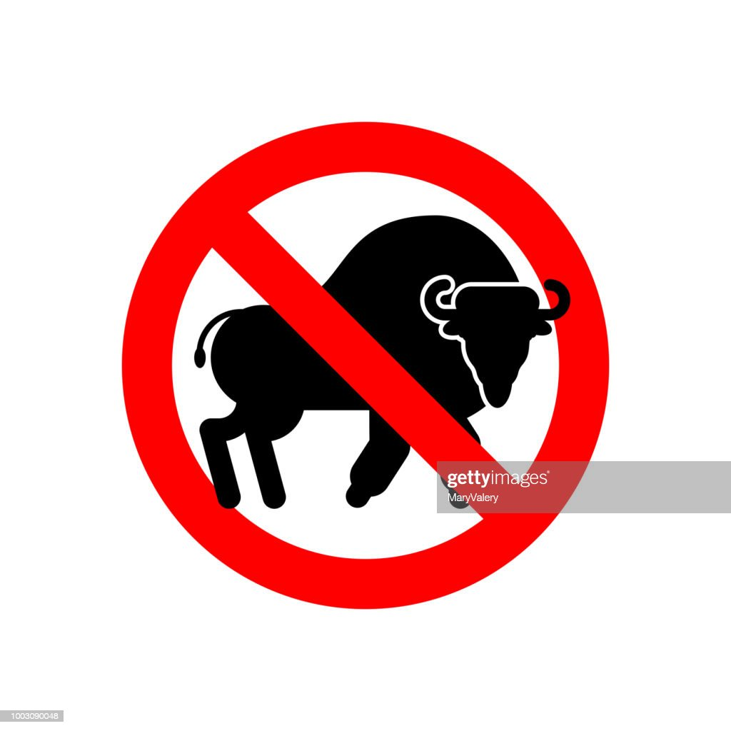 Bison Stop.  Ban Aurochs. No Wild Bull. Admonition  Buffalo. Red Prohibiting Road sign. Vector illustration.
