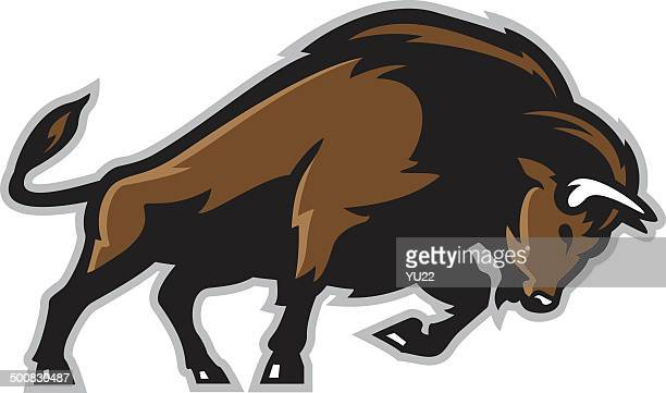 bison - african buffalo stock illustrations, clip art, cartoons, & icons