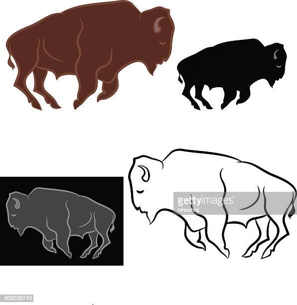 bison - european bison stock illustrations, clip art, cartoons, & icons