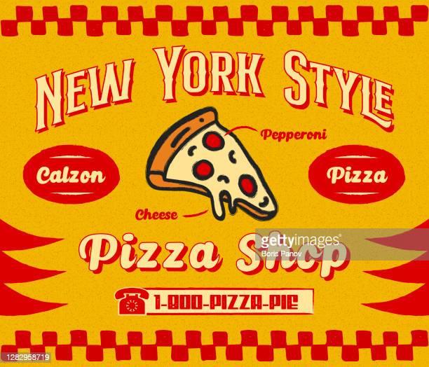 ilustraciones, imágenes clip art, dibujos animados e iconos de stock de bistro style pizzeria promo banner o plantilla de folleto con slice of pizza icon en retro delivery poster - poster