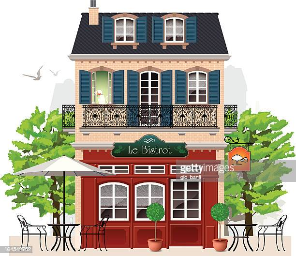bistrot - house exterior stock illustrations, clip art, cartoons, & icons