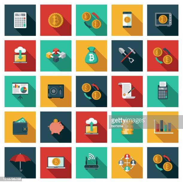 ビットコインと暗号通貨アイコンセット - 仮想通貨マイニング点のイラスト素材/クリップアート素材/マンガ素材/アイコン素材