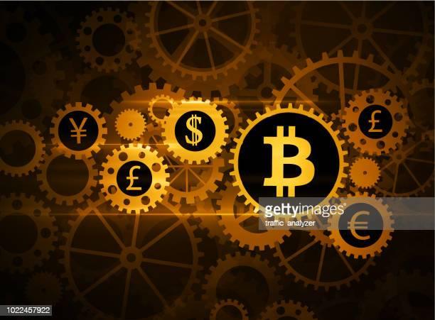 bitcoin background - gearshift stock illustrations, clip art, cartoons, & icons