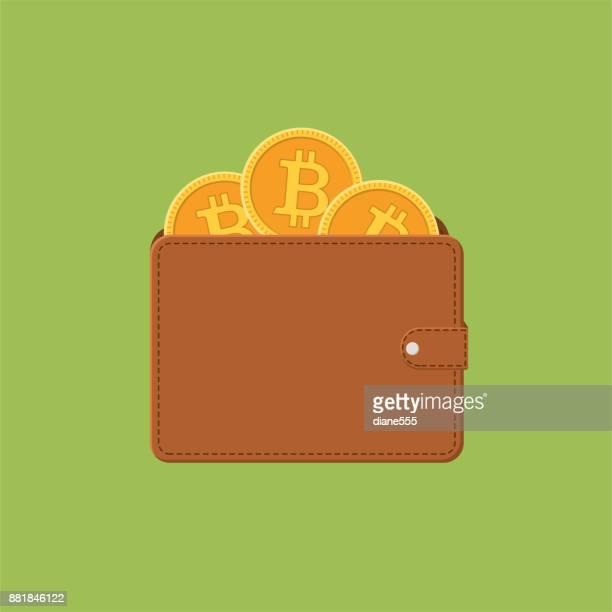 Bitcoin Blockchain Cryptocurrency Concept - Flat Design