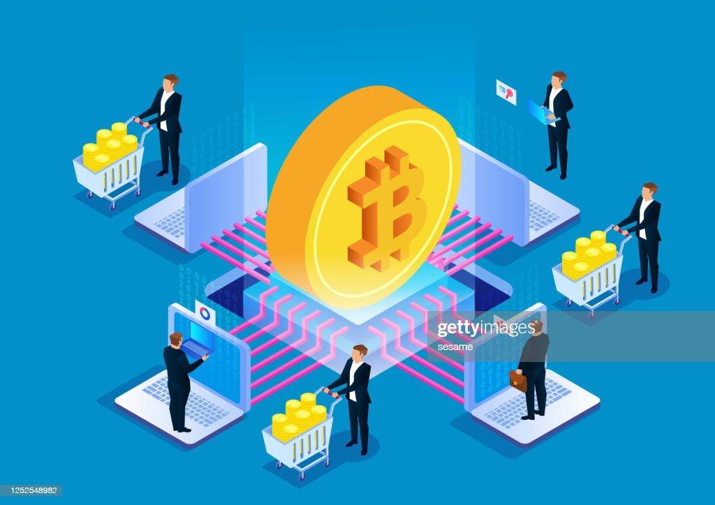ビットコインブロックチェーン技術、デジタル通貨マイニング : ストックイラストレーション