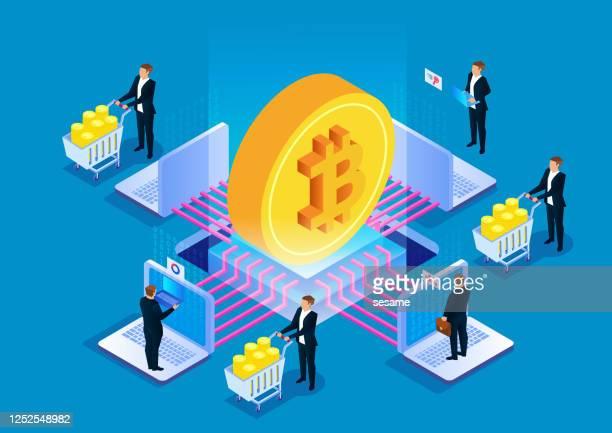 bitcoin blockchain technology, digital currency mining - financial technology stock illustrations